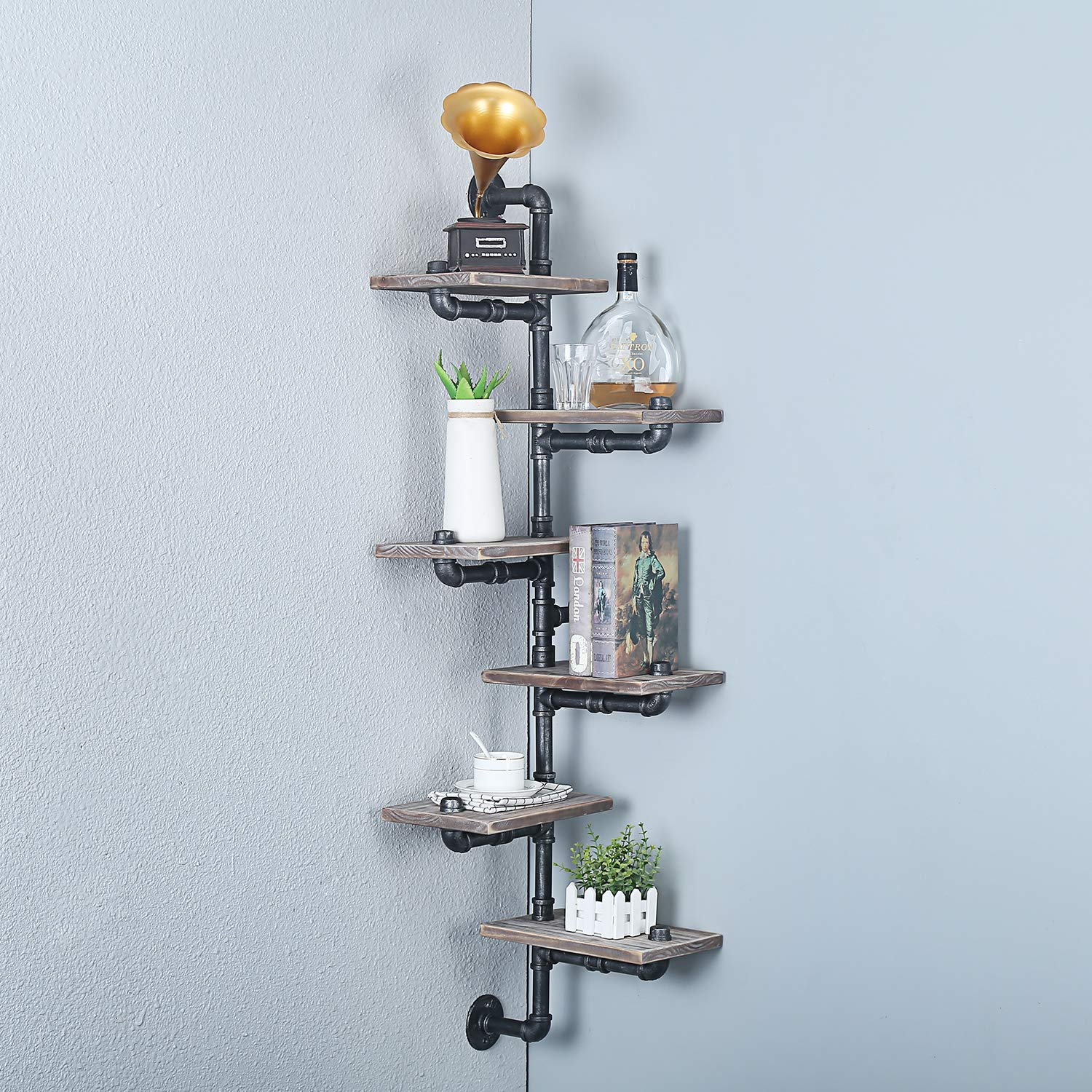 MBQQ Industrial Pipe Shelf,6-Tiers Wall Mount Bookshelf, Metal&Wood Corner Shelves,DIY Storage Shelving Rustic Floating Shelves,Home Decor Shelves