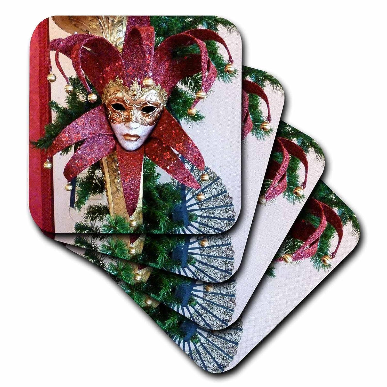 Set of 4 3dRose cst/_37256/_3 Red and Gold Vintage Mardi Gras Mask-Ceramic Tile Coasters
