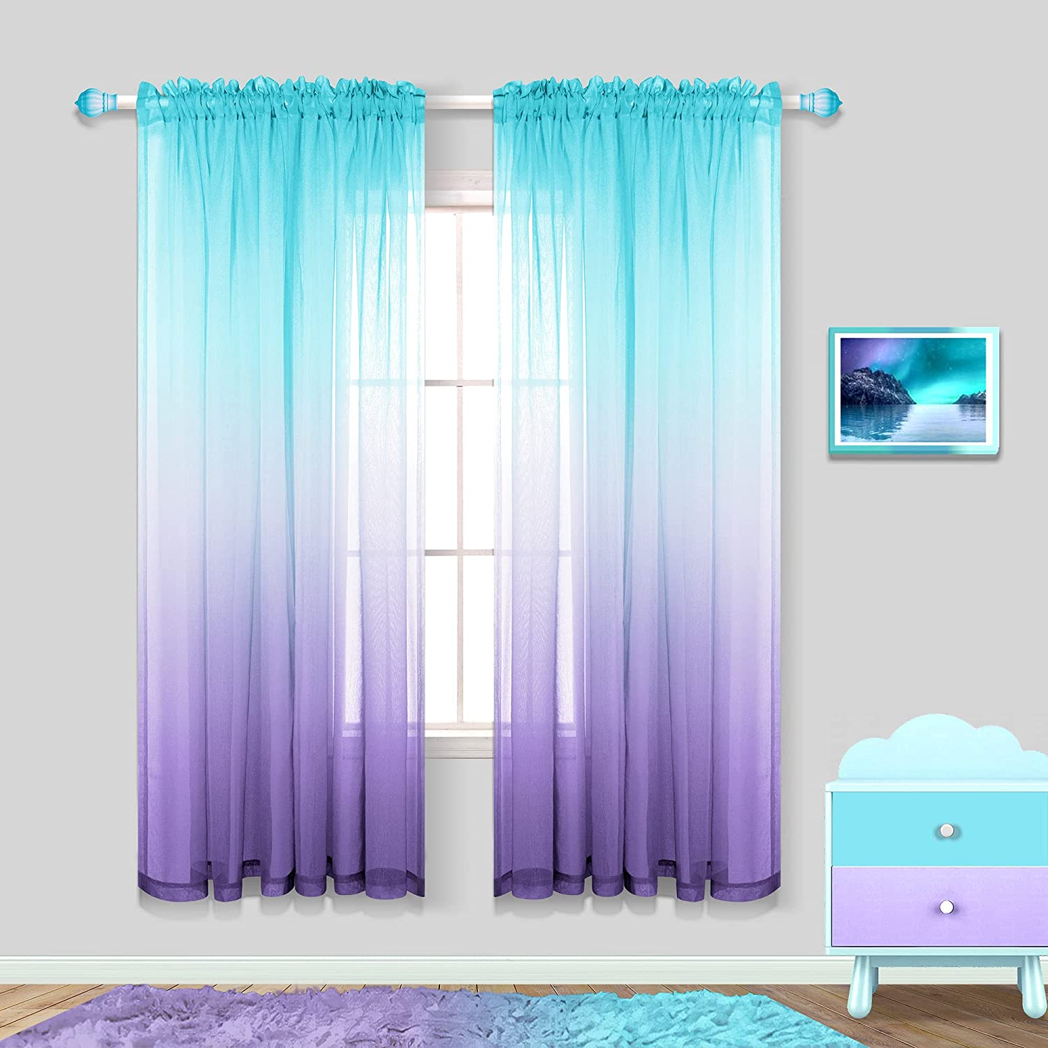 Mermaid Girls Room Decorations for Bedroom 2 Panels Rod Pocket Ombre Curtains Mermaid Room Decor for Teen Girls Aqua Teal and Lilac Purple 63 Inch Length