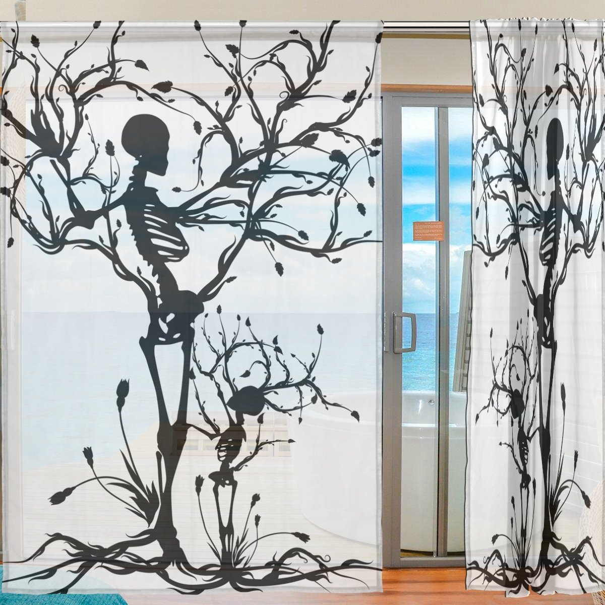 SEULIFE Window Sheer Curtain Tree of Life Skull Voile Curtain Drapes ...
