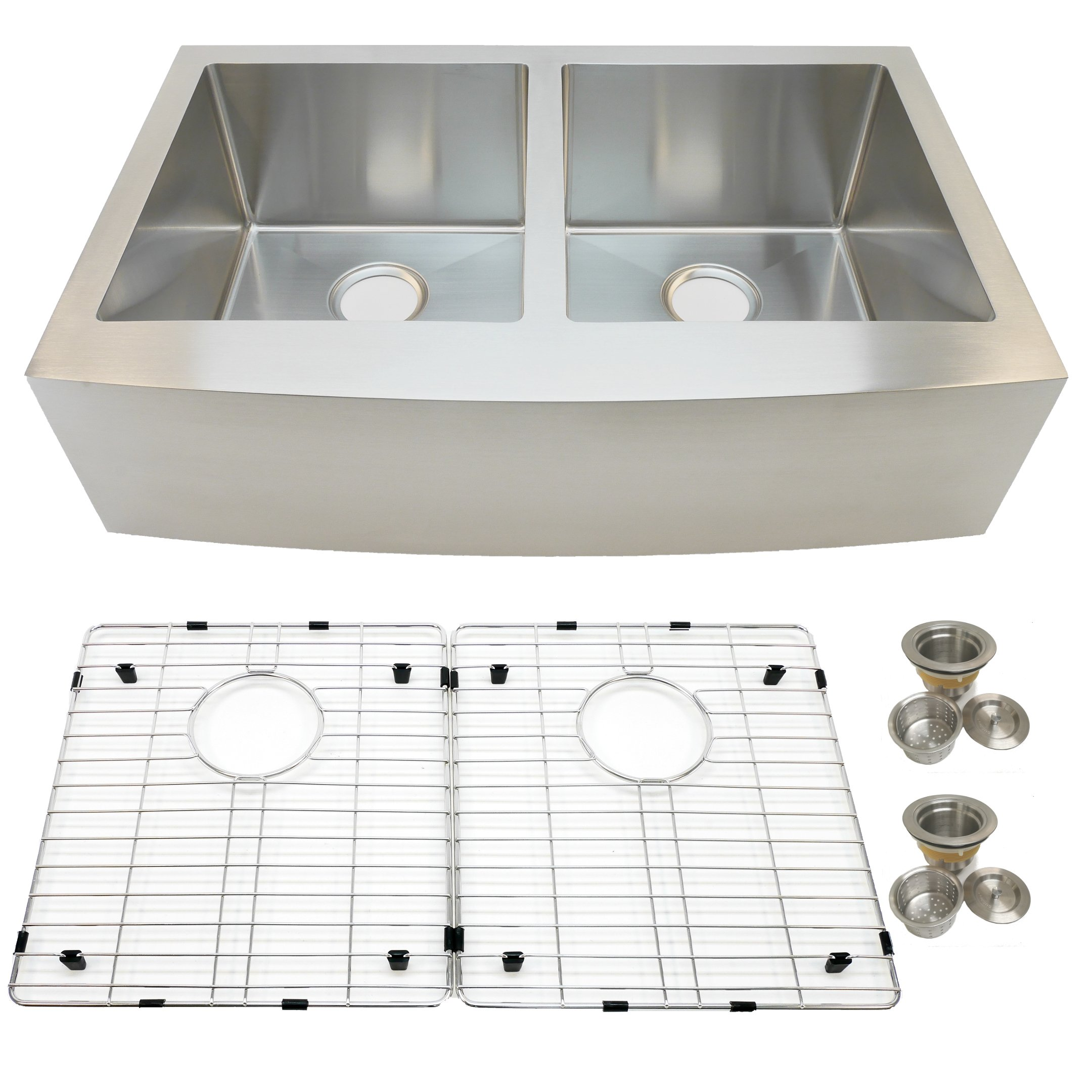 Auric Sinks 36'' Farmhouse Curved Front Apron Double Bowl Sink, 16 Gauge Stainless Steel, 50 / 50 Split, 6:SCAR-16-36-5050