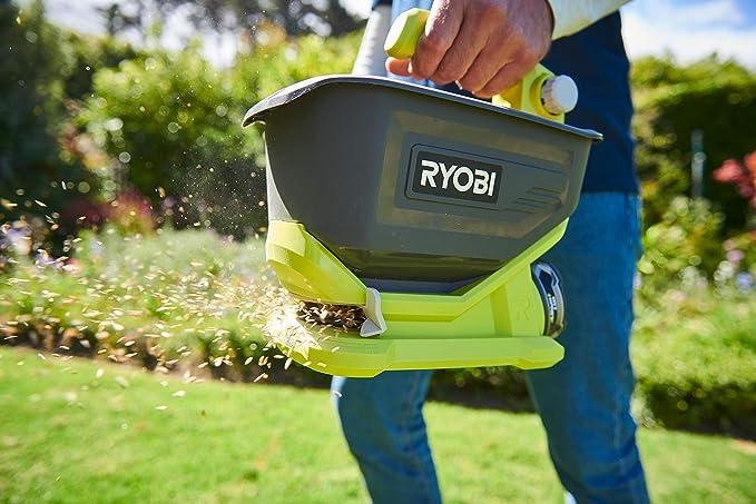 Spargitore universale Ryobi OSS1800 senza batteria e caricatore 18 V larghezza regolabile da 2,5 a 3,5 m serbatoio da 4 litri