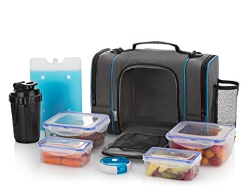 Tamaño grande con aislamiento bolsa para el almuerzo con 4 contenedores de alimentos, medicina/