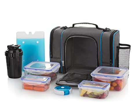 e77b8afab4f4 Amazon.com  Large Insulated Lunch Bag With 4 Food Containers ...