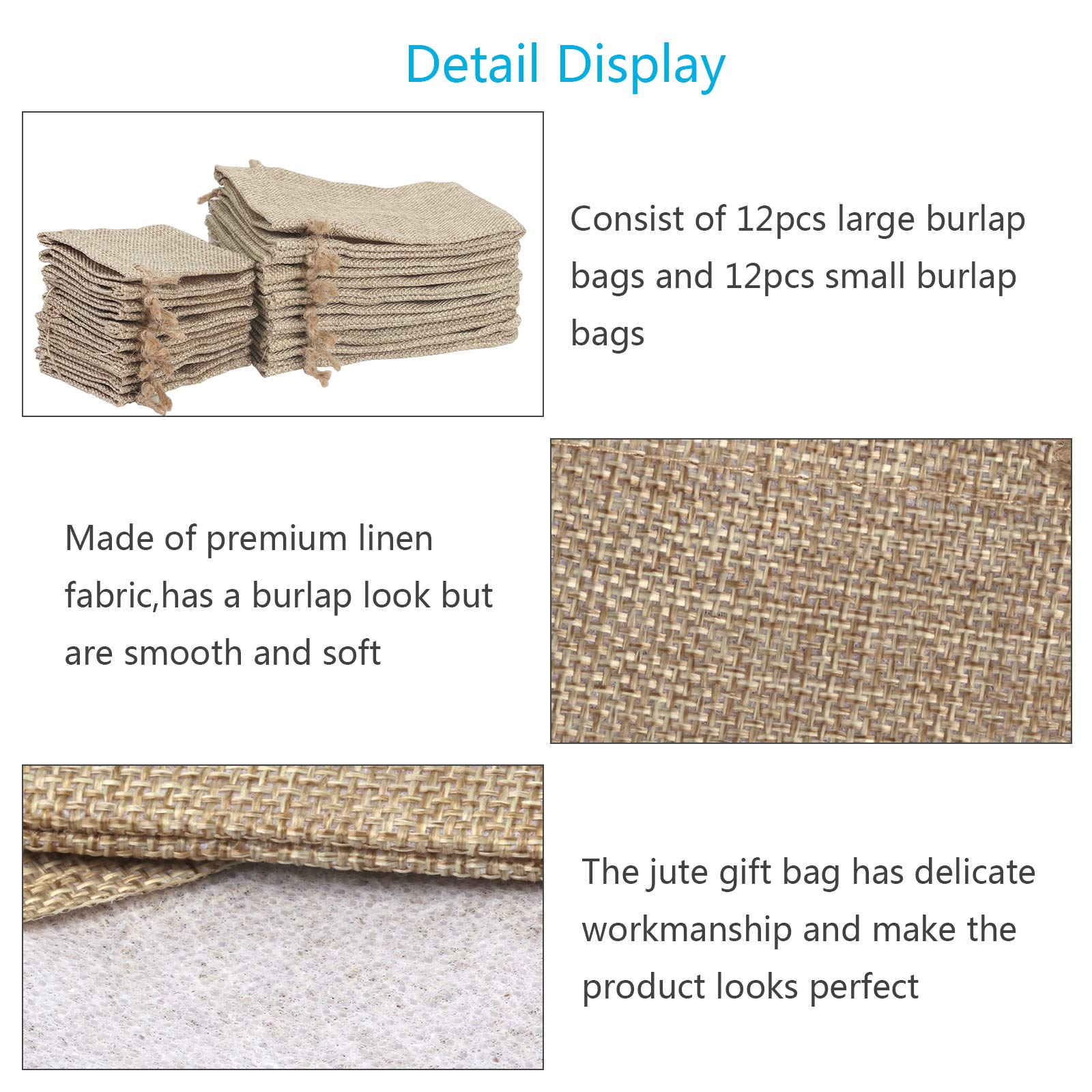 KATOOM 24 Pcs Small Burlap Bags Jute Gift Bags Vintage Linen Sack Resusable Burlap Pouches with Drawstrings for Wedding Party Christmas Festival Decoration Home DIY Craft