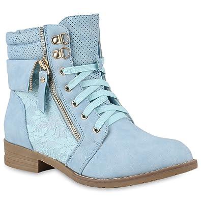 caa83e5450af Stiefelparadies Chukka Femme - Rouge - Bleu Clair
