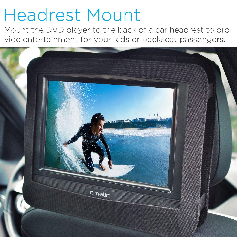 amazoncom ematic 10 portable dvd player swivel screen with matching headphones car headrest mount black electronics