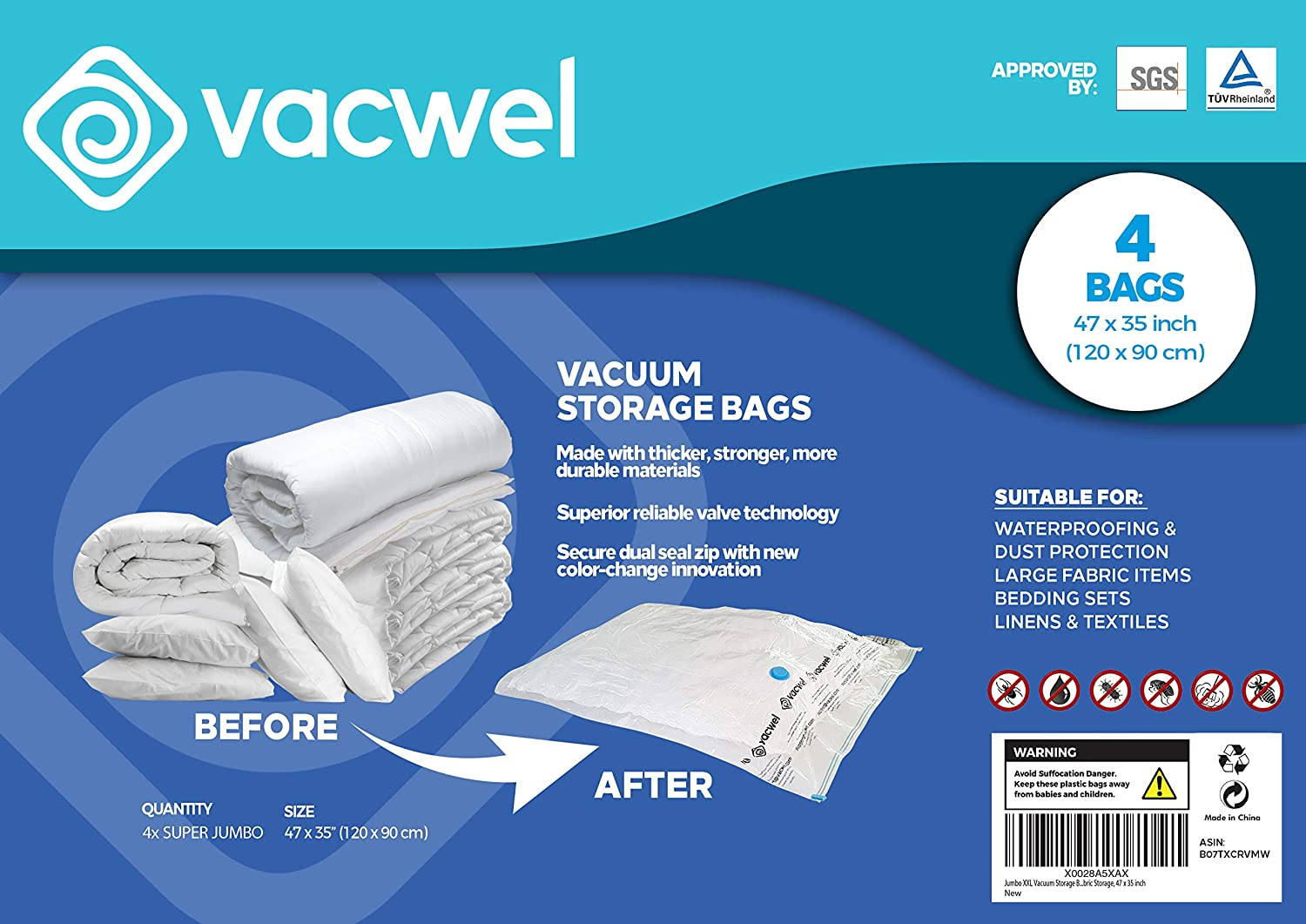 Vacwel Vacuum Storage Bags for Clothes, XXL, Jumbo, Large & Small Space Saver Bag Sizes (4 XXL Size Bags Pack)