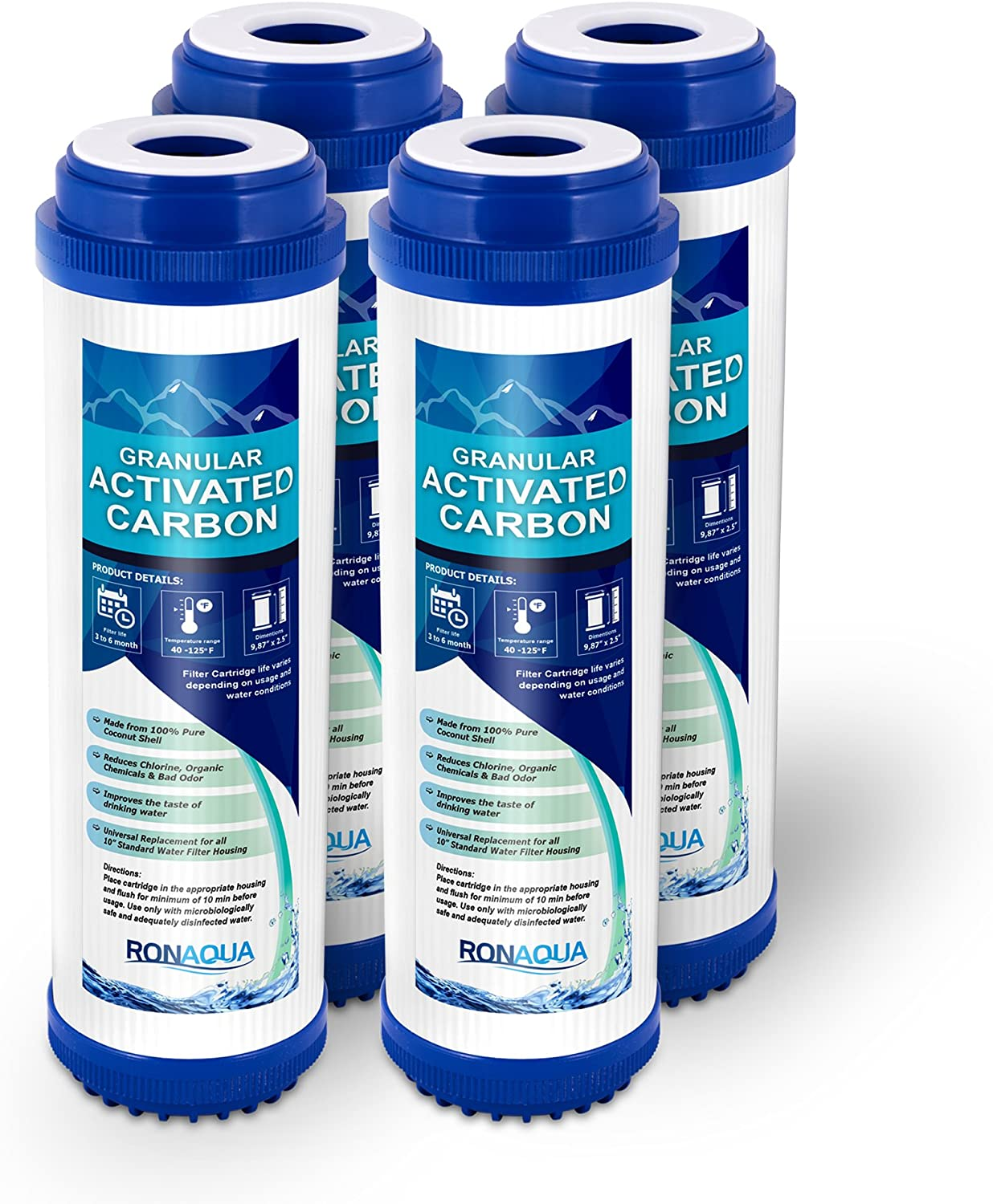 Ronaqua Granular Activated Carbon Water Filter Cartridge Well-Matched with WFPFC9001, AP117, GAC-10, FXUTC, D-20A, GAC1 (4 Pack)