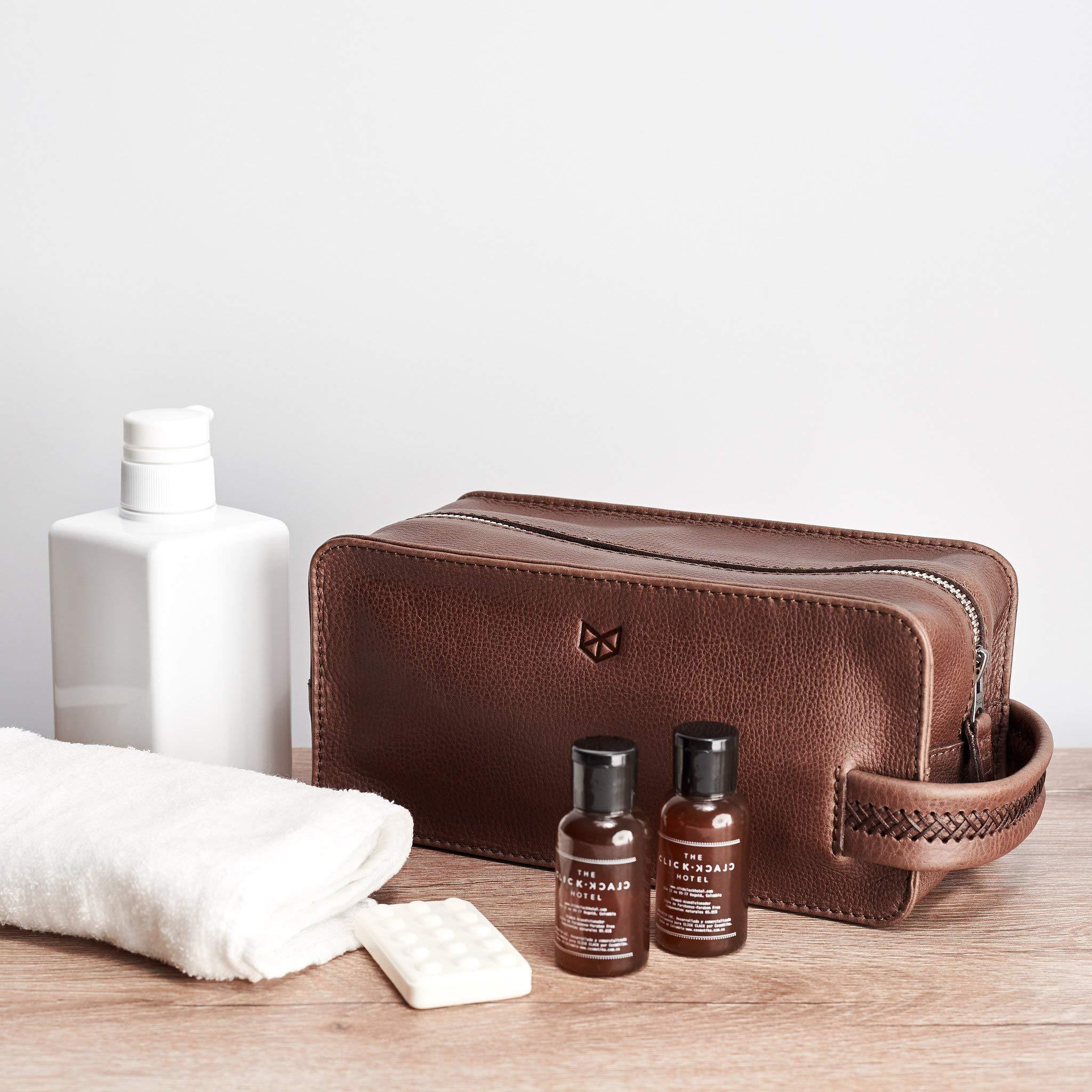 Capra Leather Toiletry Bag for Men, Brown Handmade Travel Dopp Kit, Wash Shaving Pouch, Waterproof Toiletries Storage. Groomsmen & Mens Gifts