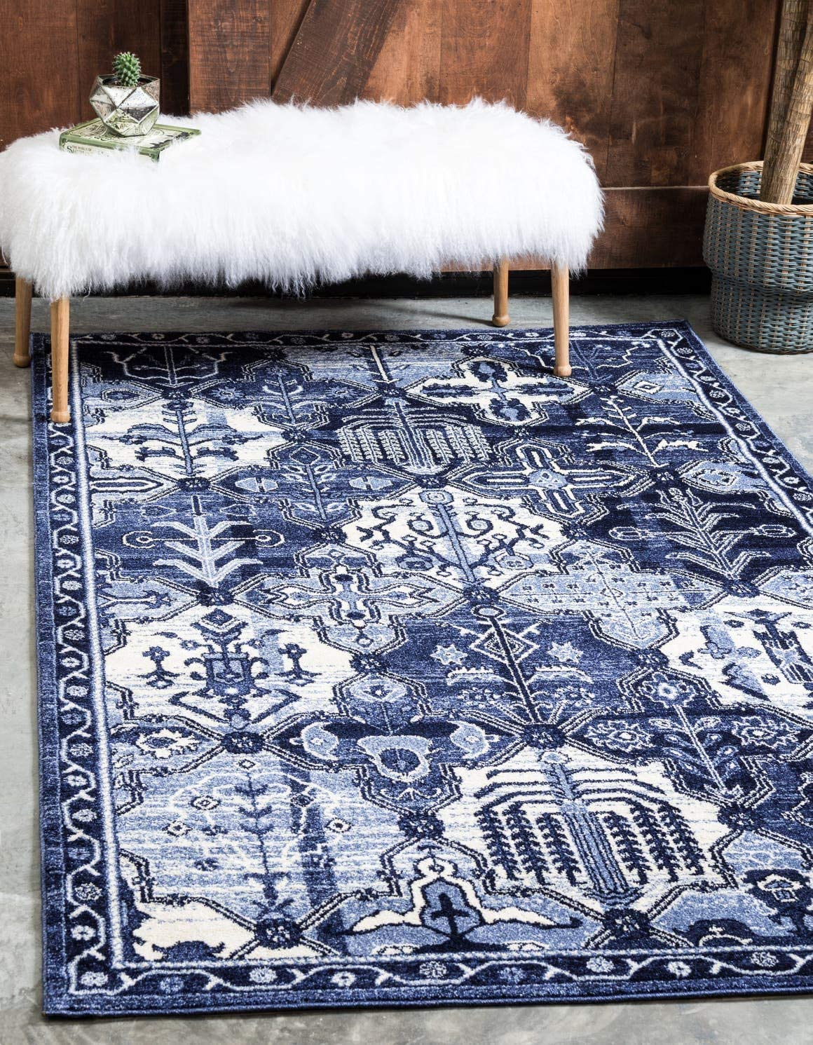 Unique Loom La Jolla Collection Tone-on-Tone Traditional Blue Area Rug 8 0 x 10 0
