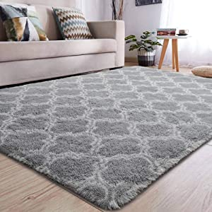 YJ.GWL Soft Indoor Large Modern Area Rugs Shaggy Patterned Fluffy Carpets Suitable for Living Room and Bedroom Nursery Rugs Home Decor Rugs for Christmas 5'x8'Grey