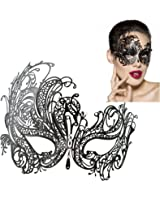 DSstyles Masquerade Mask for Women Verona Venetian Style Metal Lace Mask with Laser Cut for Halloween and Costume Party - M7