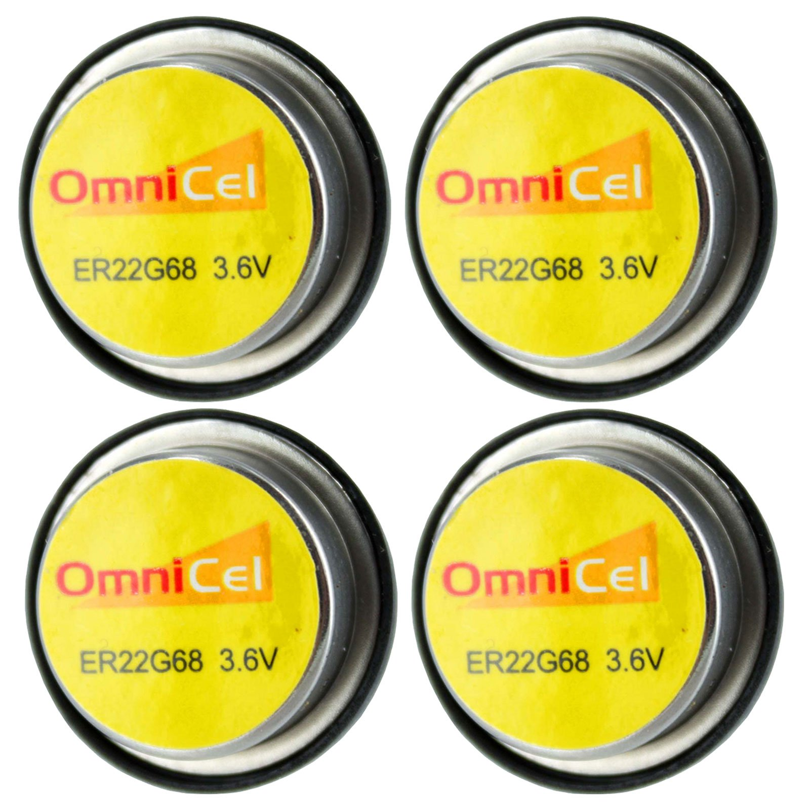 4x OmniCel ER22G68 3.6V 0.4Ah Bel Cell Waffer Lithium High Energy Battery For Smoke Alarms, Carbon Monoxide Detectors, Intrusion Sensors, Invisible Fencing, Emergency Backup, Data Collection by Exell Battery
