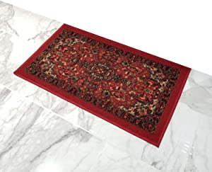 Doormat 18x30 Red Medallion Kitchen Rugs and mats | Rubber Backed Non Skid Rug Living Room Bathroom Nursery Home Decor Under Door Entryway Floor Carpet Non Slip Washable | Made in Europe