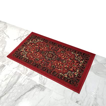 Amazon Com Doormat 18x30 Red Medallion Kitchen Rugs And Mats