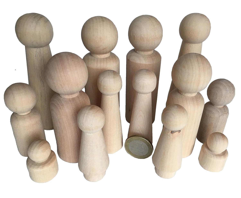 14 Familie Männchen Figuren Holzfiguren Spielfiguren Zum Bemalen Basteln  Holz Puppen Krippenfiguren Spielfiguren Mann Frau Junge Mädchen Kinder Von  MEIERLE ...