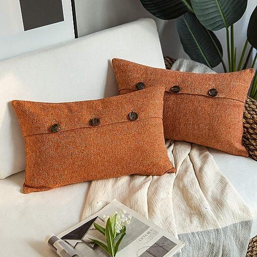 Phantoscope Triple Button Cotton Blend Throw Pillow Case Cushion Cover Navy Blue 20 X 20 50 X 50 Cm Throw Pillow Covers Home Kitchen