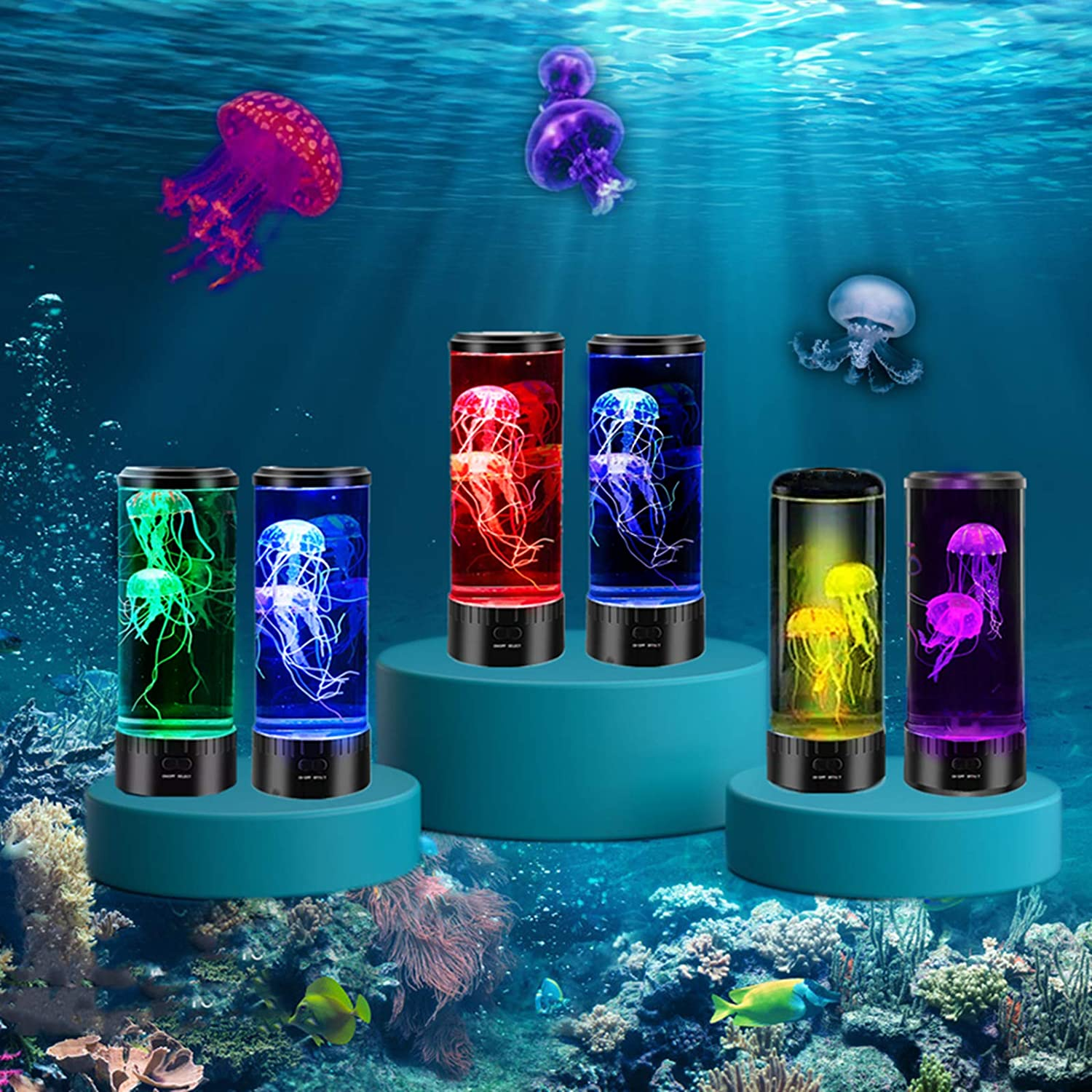 LUOWAN Led Jellyfish Lamp, Jellyfish Aquarium with Color Changing Light Effects, USB Powered, Round Jelly Fish Aquariums Tank Night Mood Lamp Ideal Gift