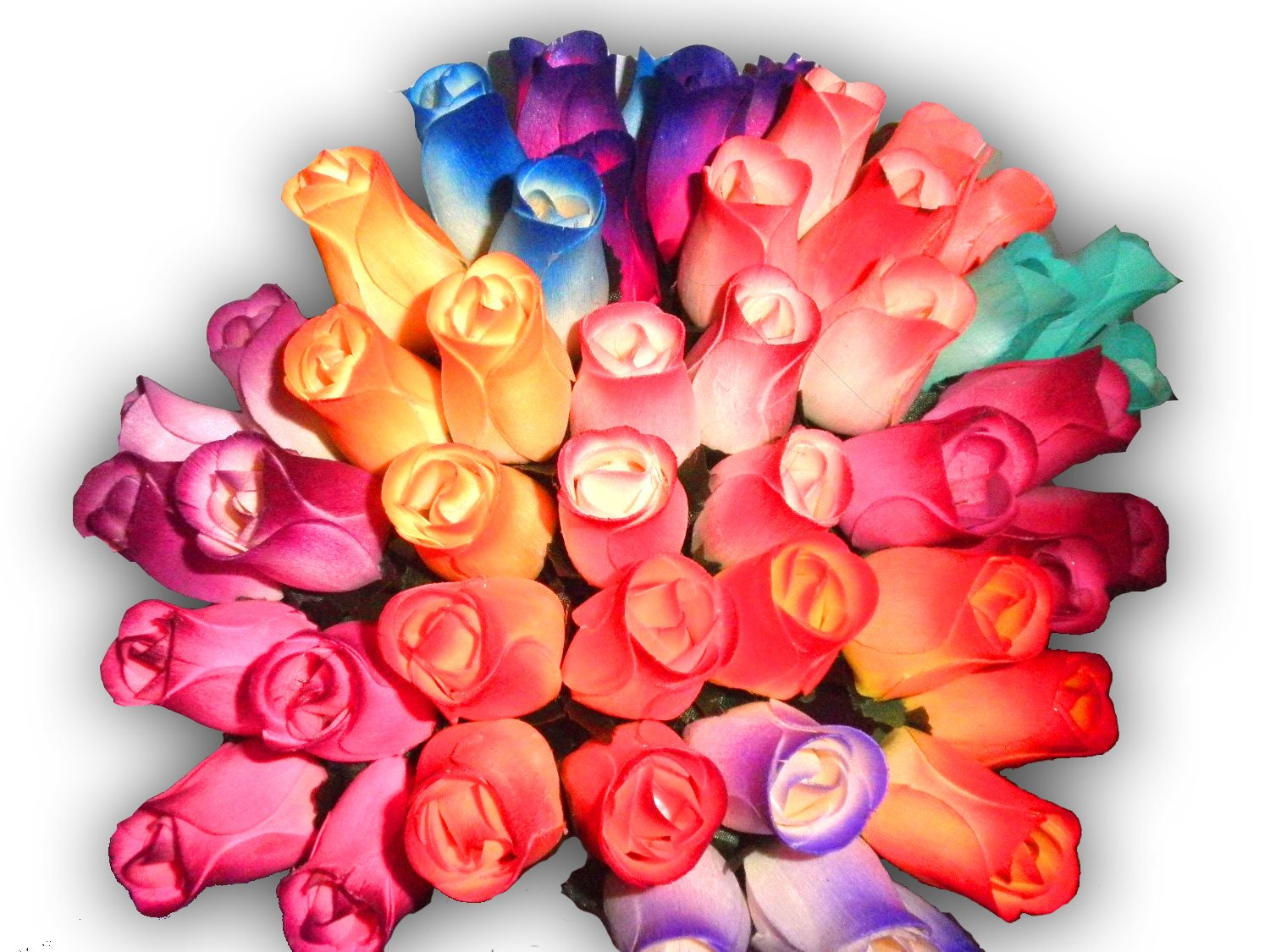 2 Dozen (24) Wooden Roses Colorful Arrangement in Sleeve by Forever Wood Roses (Image #1)
