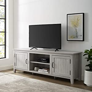 """Walker Edison Modern Farmhouse Grooved Wood Stand with Cabinet Doors for TV's up to 80"""" Living Room Storage Shelves Entertainment Center, 70 Inch, Stone Grey"""