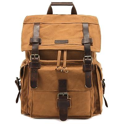 Kattee Men's Canvas Leather Hiking Travel Backpack Rucksack School Bag