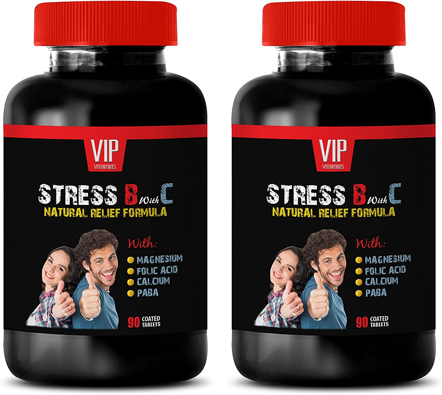 Stress Vitamins for Women - Stress B with C Natural Relief Formula for Adults - Mood Support - Anxiety Relief - Passion Flower Capsules - 2 Bottles (180 Tabs)
