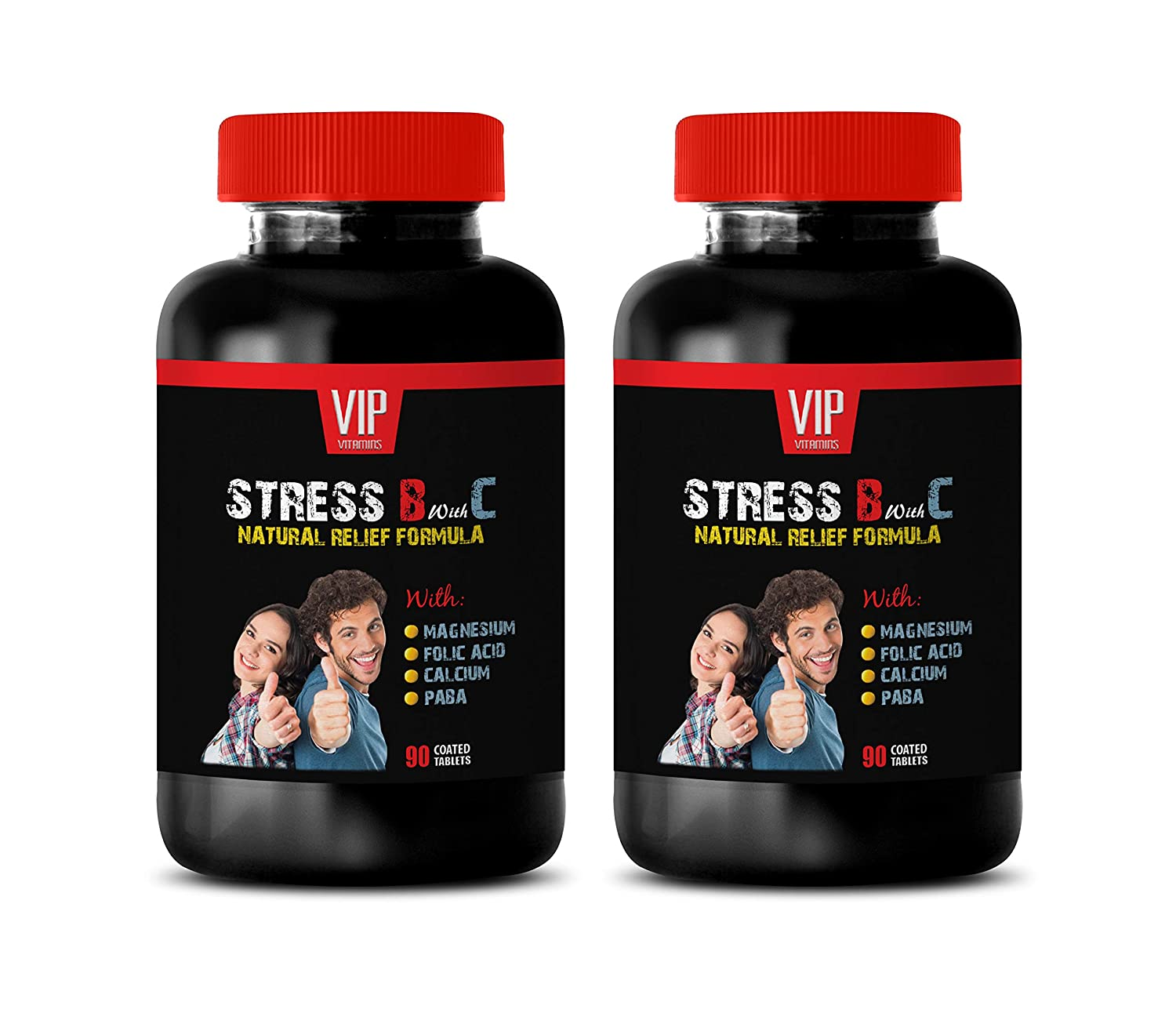 Stress Vitamin b Complex - Stress B with C Natural Relief Formula for Adults - Mood Support - Anxiety Relief - Valerian Capsules - 2 Bottles (180 Tabs)