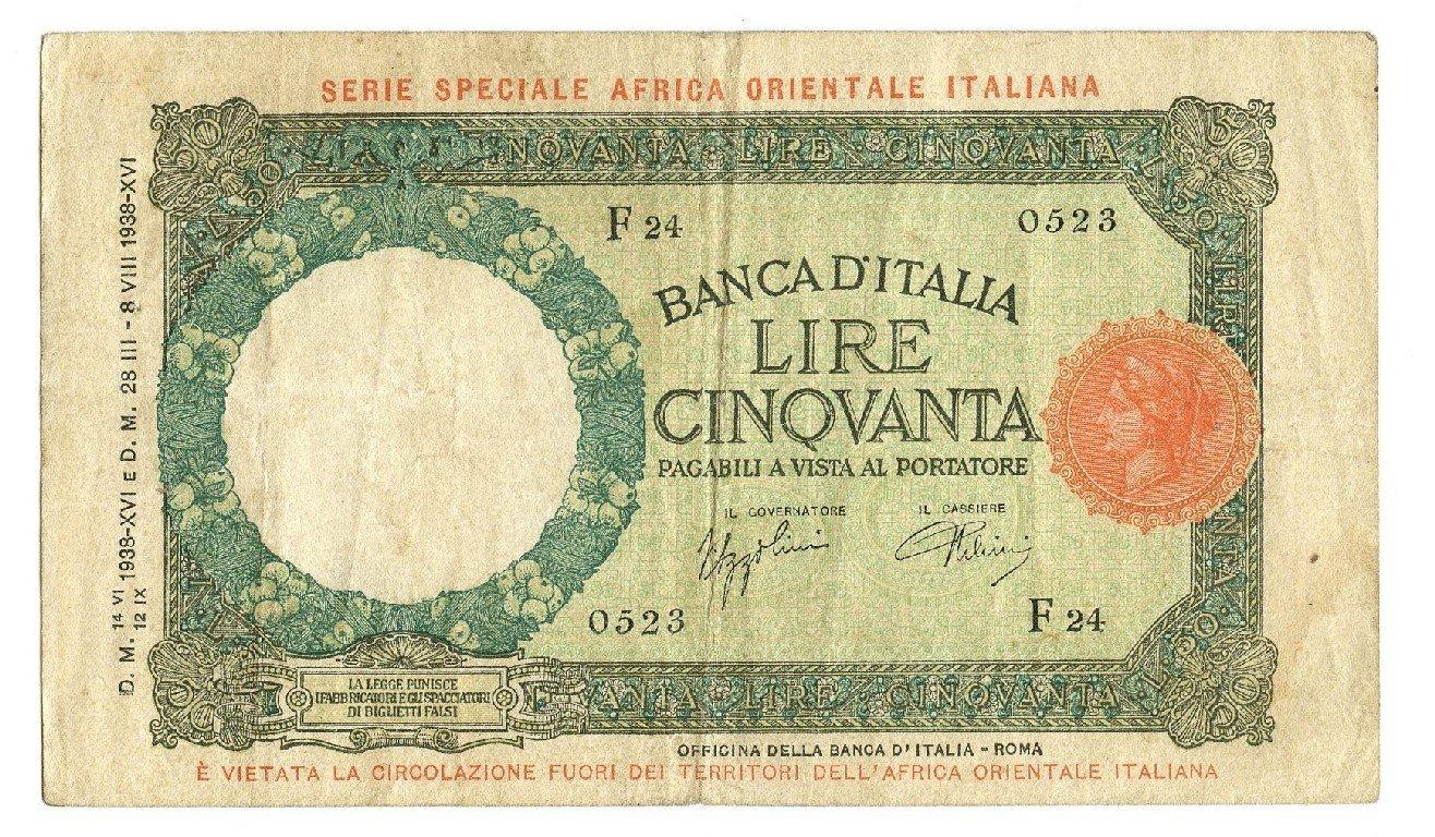 Cartamoneta  50 Lire LUPA CAPITOLINA Africa Orientale Italiana AOI 12 09 1938 BB