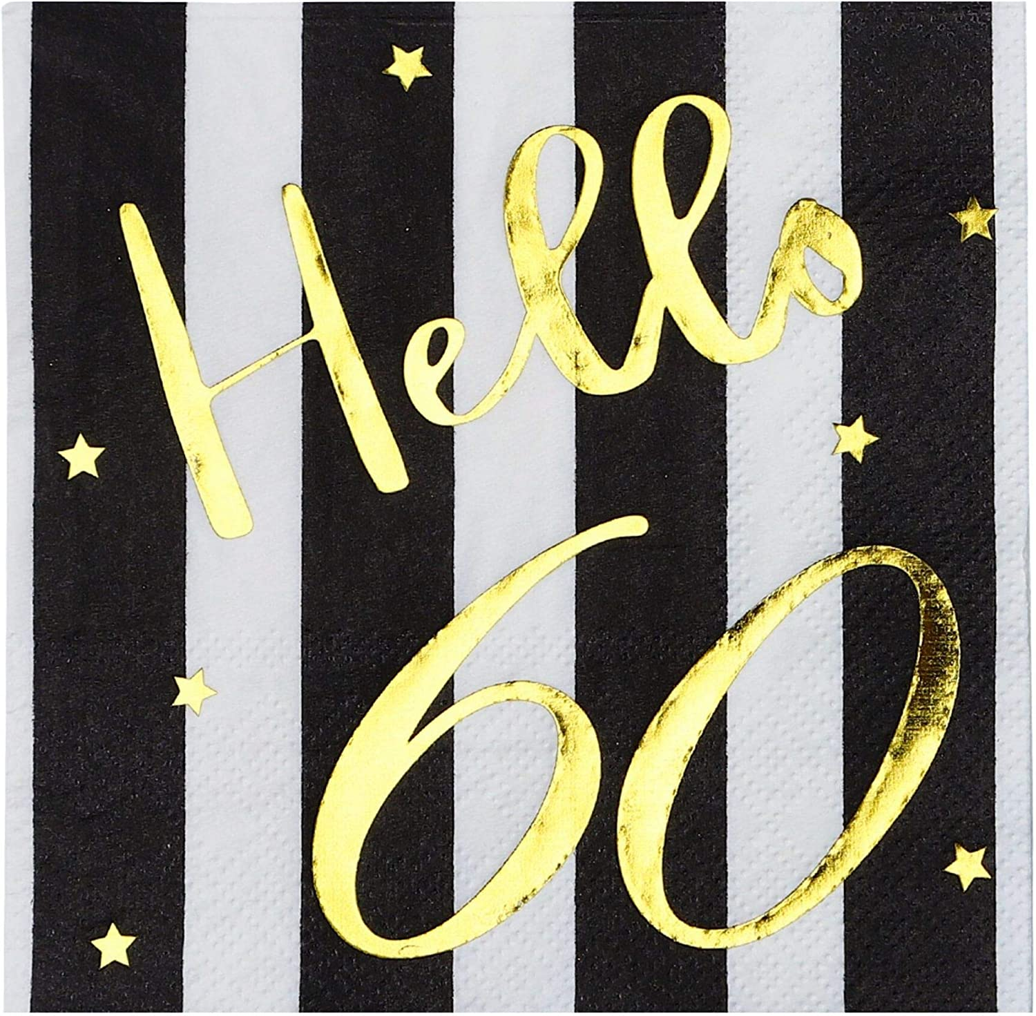 Hello 60 Cocktail Napkins - Happy 60th Birthday Decorations for Men Women | Folded 5x5 Inches Party Napkins | 3-Ply Paper Beverage Napkins, Black and Gold 60th Birthday Napkins, Wedding Anniversary