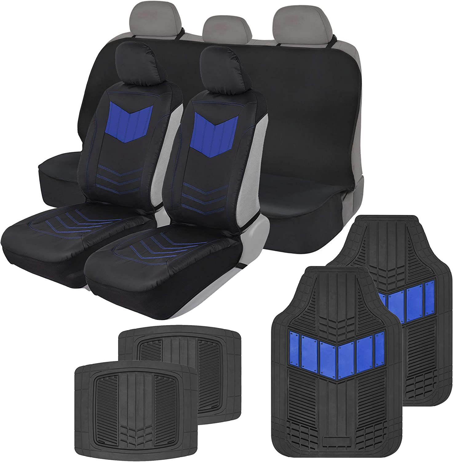 Motor Trend COMBO304 Blue ComfortPlush Vegan Leather Sideless (Front 2pc) Waterproof Bench Seat Cover (Rear 1pc) & Heavy-Duty Floor 4pc Mat Car Auto (Sedan Truck SUV Minivan) Full Set Combo
