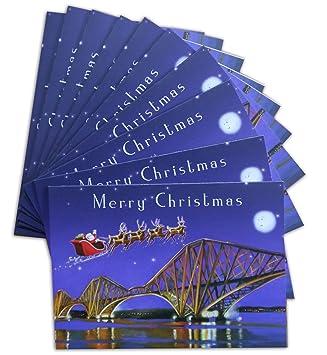 Santa over the forth bridges scottish christmas cards pack of 10 santa over the forth bridges scottish christmas cards pack of 10 m4hsunfo