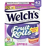 Welch's Fruit Snacks, Fruit Rolls Variety Pack, Strawberry, Berry & Tropical Punch, Gluten Free, Bulk Pack, 0.75 oz Individual Single Serve (Pack of 42)