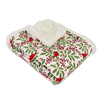 berkshire blanket holiday holly branches reversible christmas throw blanket plush multi