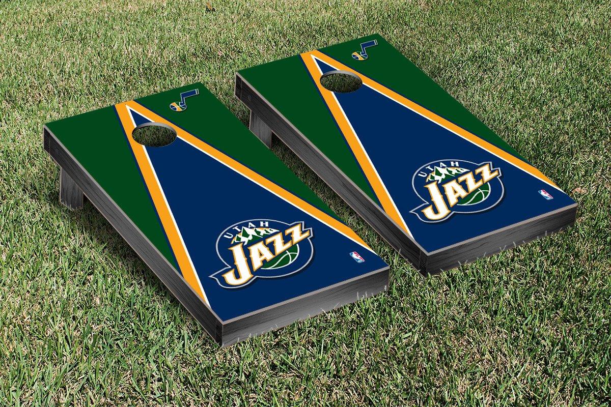 Utah Jazz NBA Basketball Cornhole Game Set Triangle Version by Victory Tailgate