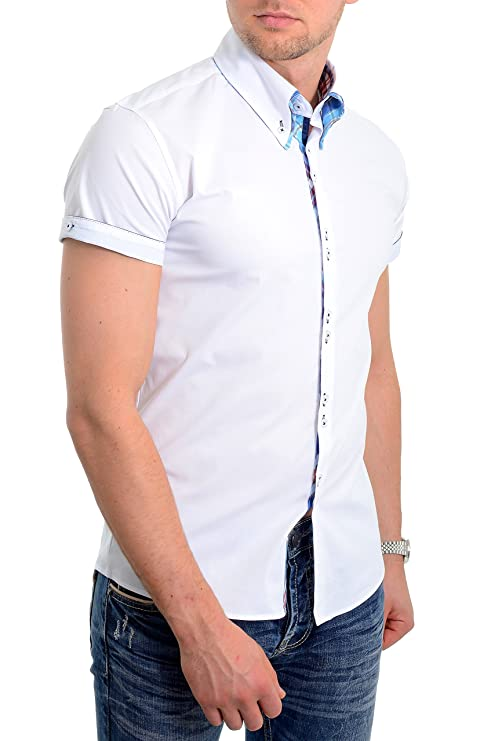 eaf92c77e Mens White Short Sleeve Shirt Italian Design Slim Fit Blue Check Cotton New  UK at Amazon Men s Clothing store