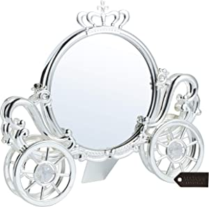Matashi Silver Plated Double Sided Cinderella Princess Coach Mirror Embellished with Crystals Home Decor Living Room Showpiece Gift for Girlfriend Wife Mom