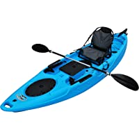 Brooklyn Kayak Company BKC UH-RA220 11-Foot 6-inch Angler Sit On Top Fishing Kayak with Paddles, Upright Seat and Rudder System Included
