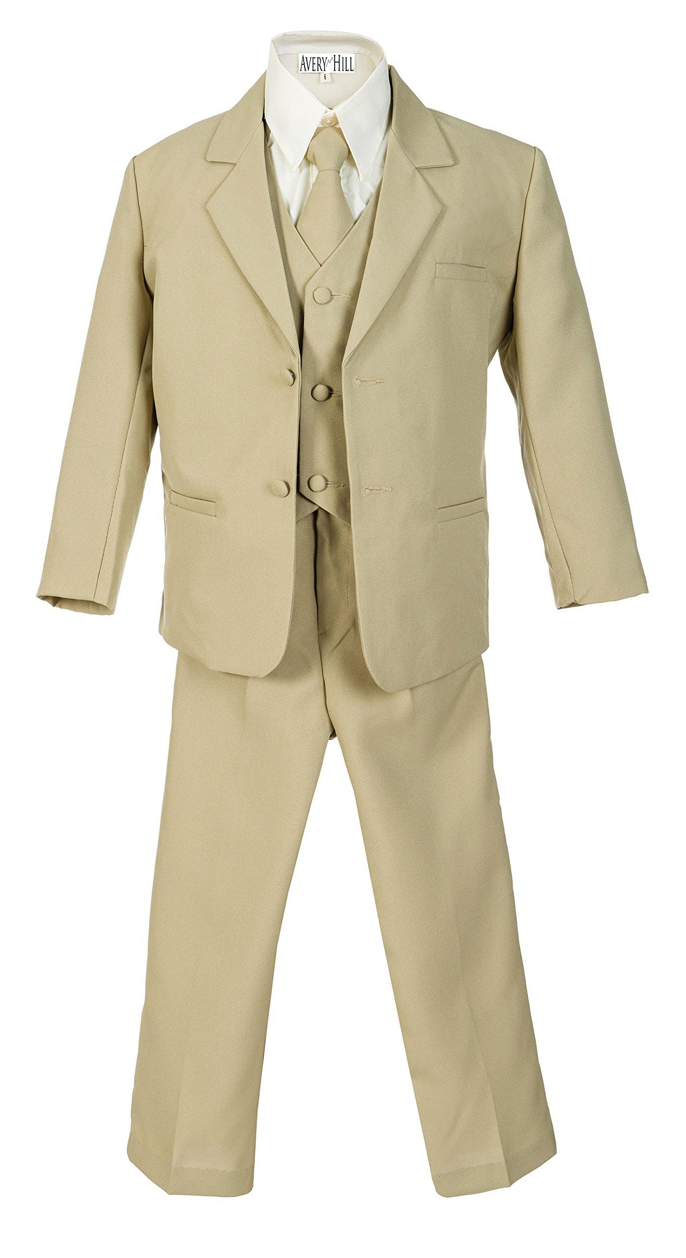 Avery Hill Boys Formal 5 Piece Suit Shirt Vest KH 16