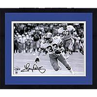 "$169 » Framed Tony Dorsett Dallas Cowboys Autographed 8"" x 10"" Black & White Running Photograph - Autographed NFL Photos"