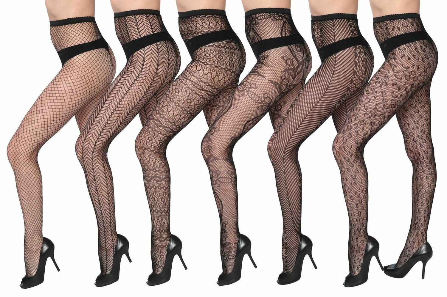 Isadora Paccini Women's 6-Pack Fishnet Lace Pantyhose Tights, Queen, Black 810Q