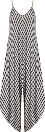 ff842d200a03 WearAll Women's Striped Harem Jumpsuit Ladies Print Strappy Sleeveless  Trousers - Navy Blue Grey - One