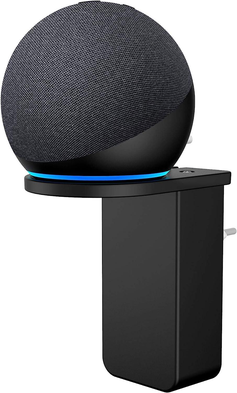Cozycase Soporte Dot 4 generación con Reloj - Accesorios par Organizando los Cables en cocinas, baño y Dormitorio (1-Pack, Negro)