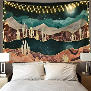 Likiyol Mountain Tapestry Moon Tapestry Desert Cactus Tapestry Starry Night Nature Landscape Tapestry Wall Hanging for Room
