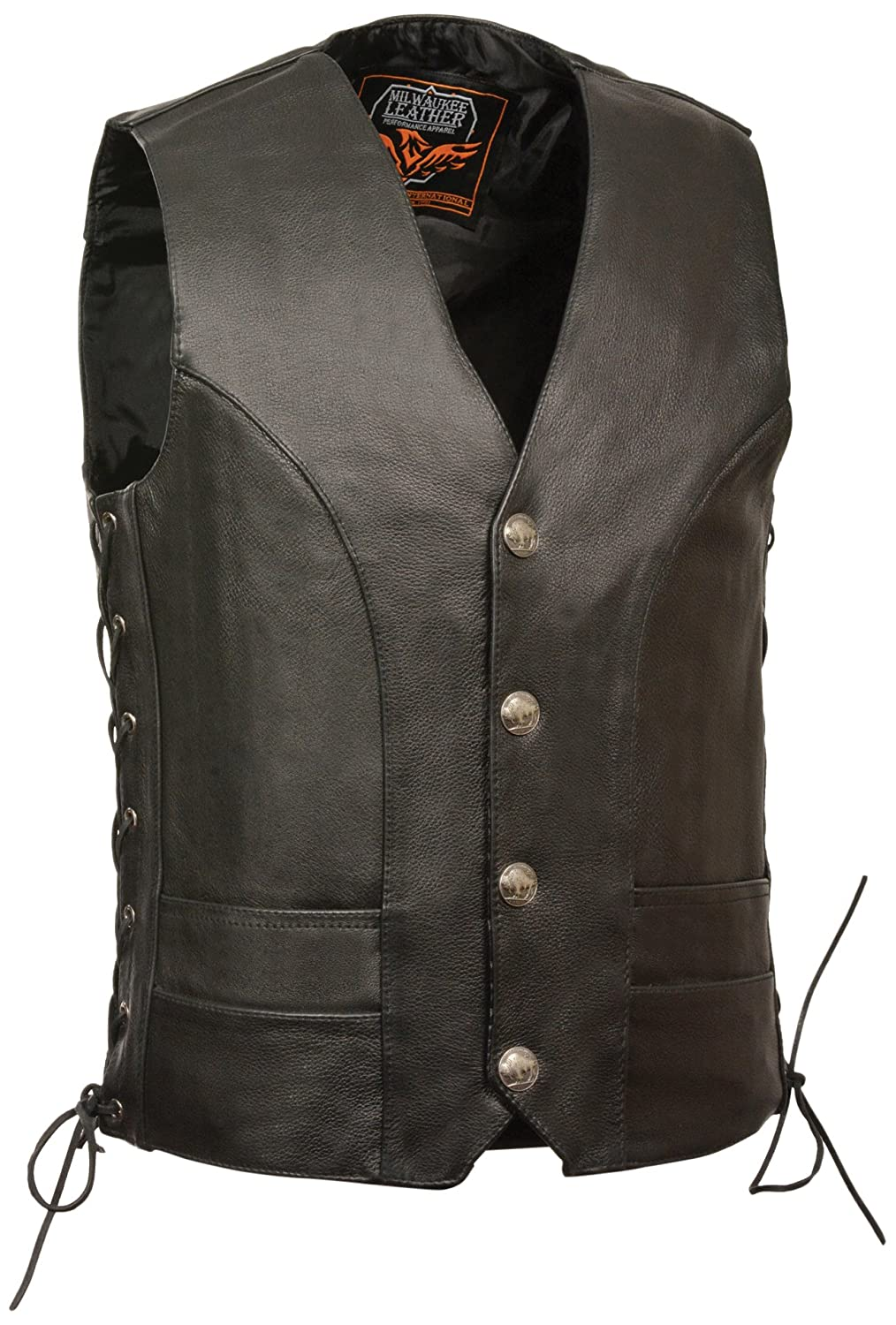 Milwaukee Mens 1.4mm Naked Cowhide Leather Laces Vest Black, Size 52