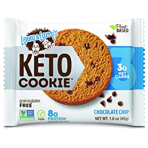 Lenny & Larry's Keto Cookie, Chocolate Chip, Soft Baked, 8g Plant Protein, 3g Net Carbs, Vegan, Non-GMO, 1.6 Ounce Cookie (Pack of 12)
