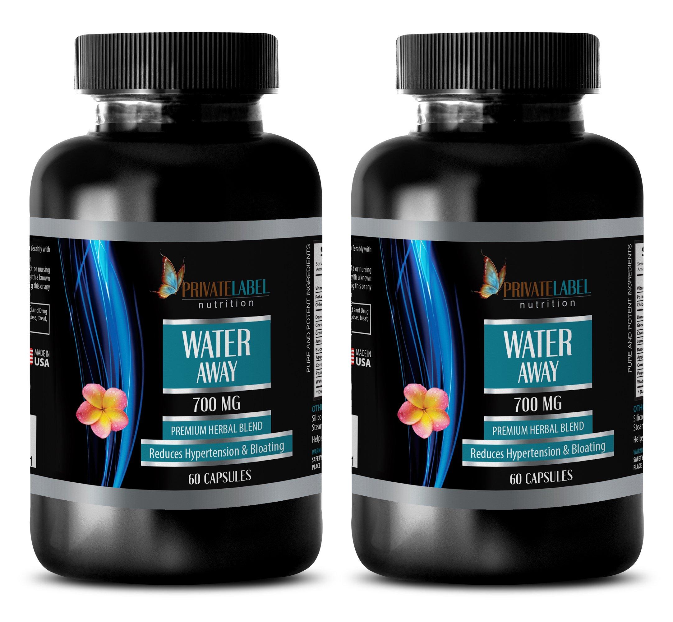 Metabolism Boost - Water Away - Premium Herbal Blend - Blood Pressure Lowering Supplement - 2 Bottles (120 Capsules)
