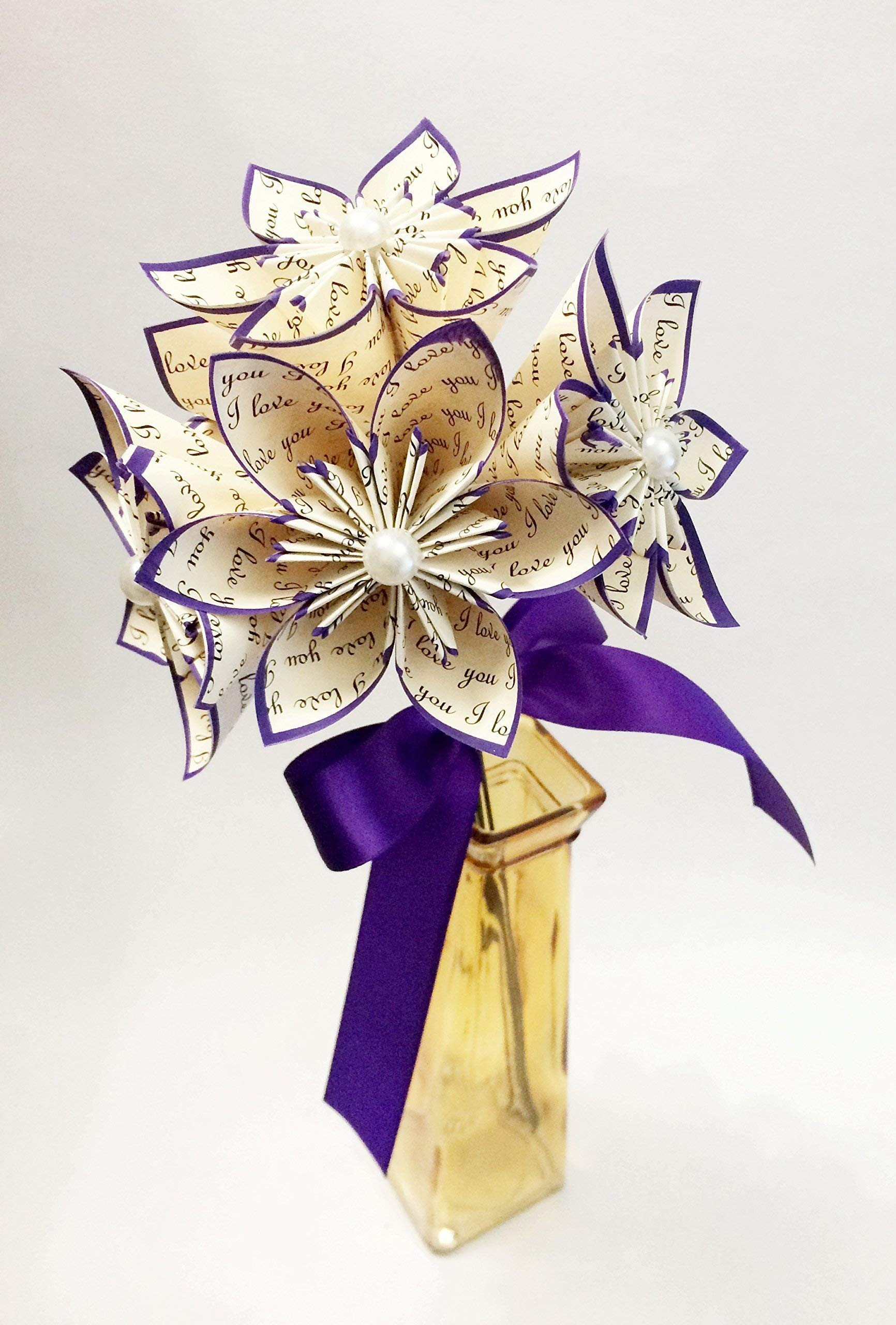 5 I Love You Paper Flowers Ready To Ship Handmade Gift Royal