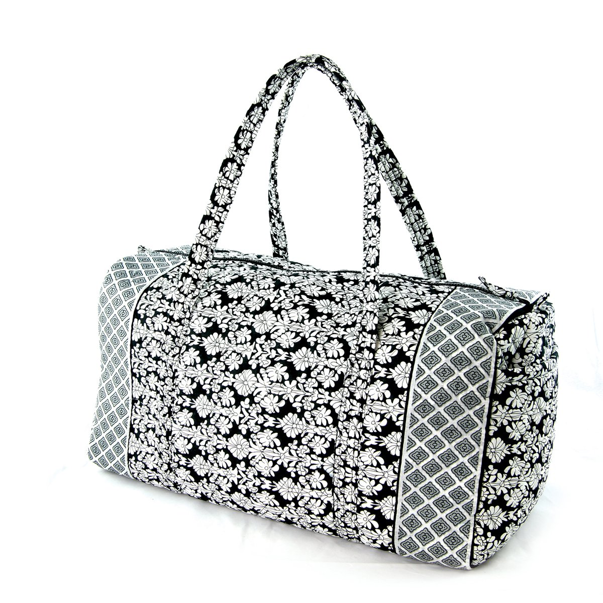 Floral Quilted Cotton Duffle Bag Black/White by WonderMolly (Image #2)