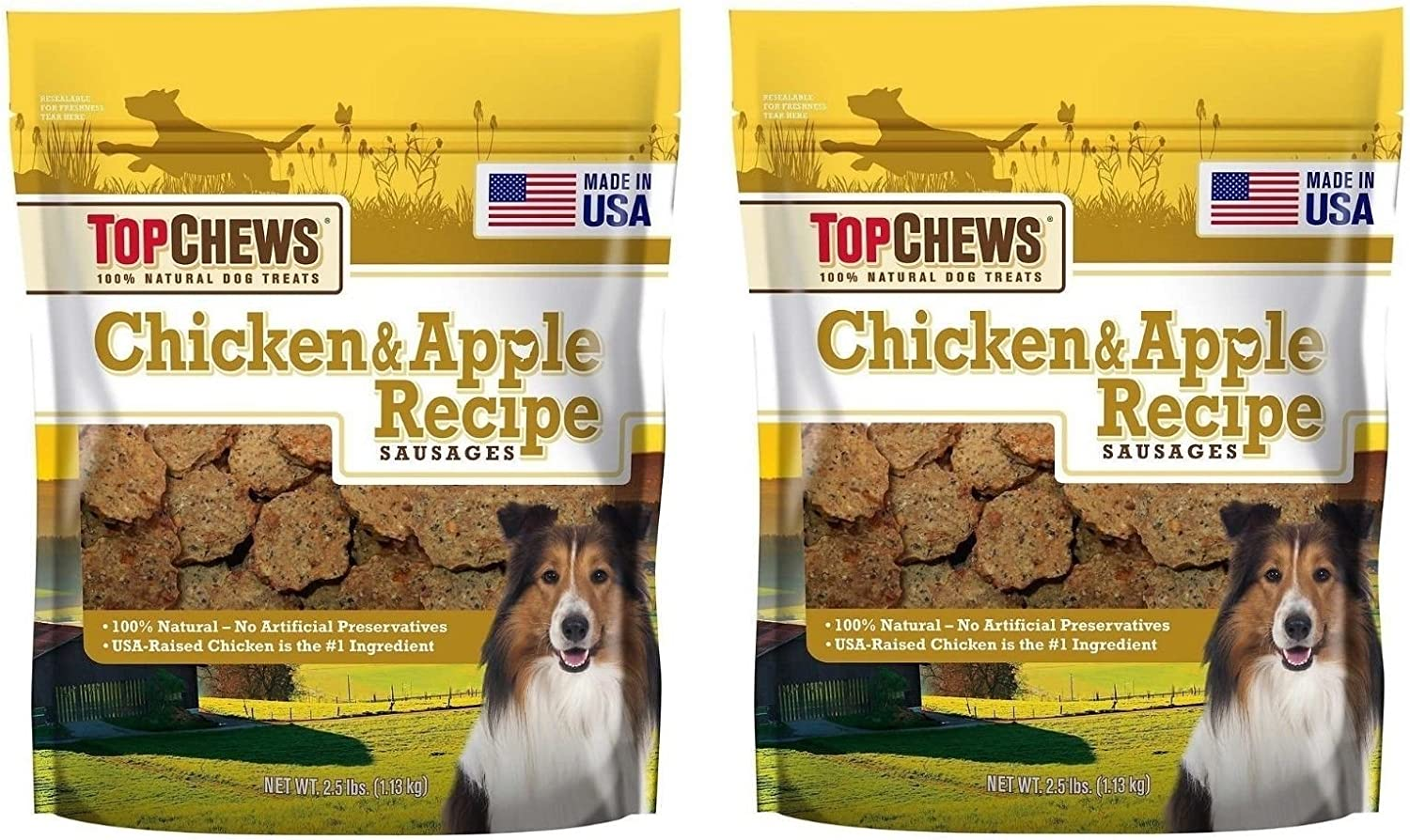 Top Chews Chicken & Apple Sausages 2Pack (40 ounces Each)